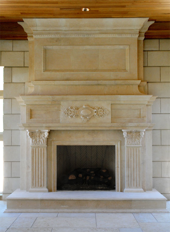 large limestone fireplace mantel