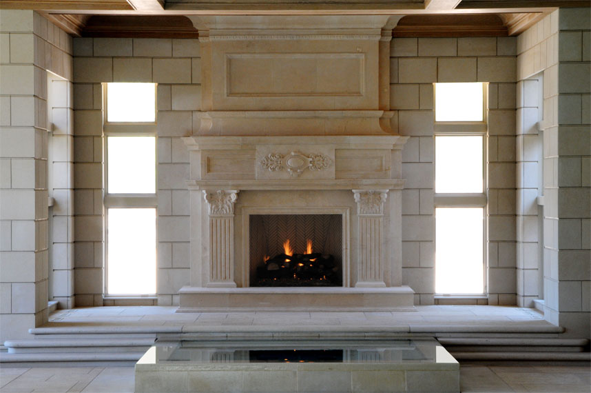 distant view of jeruselem fireplace mantel