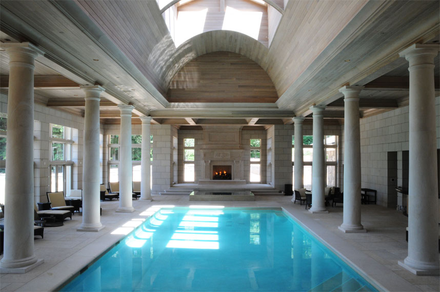 overall view of swimming pool and fireplace