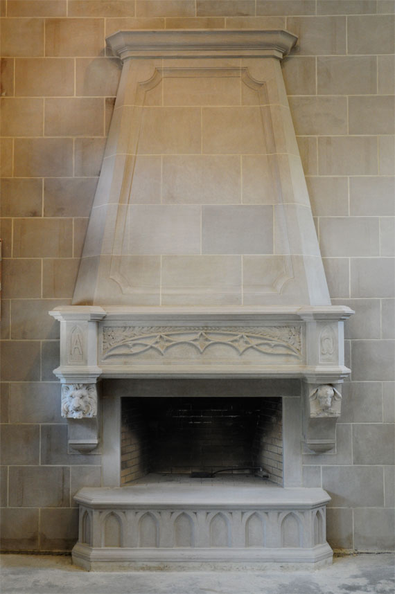 Gothic style fireplace mantel