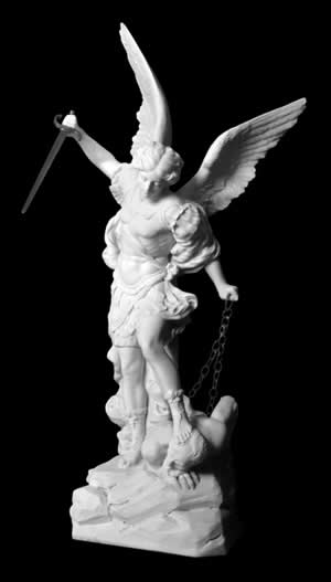 Stone carving sculpture of archangel michael
