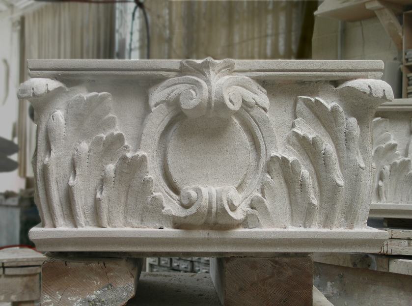brownstone carving installed
