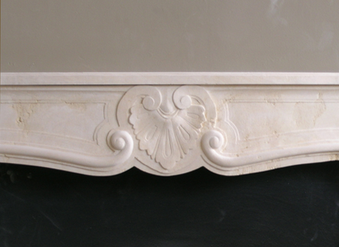 texas cream Louis XIV fireplace mantel