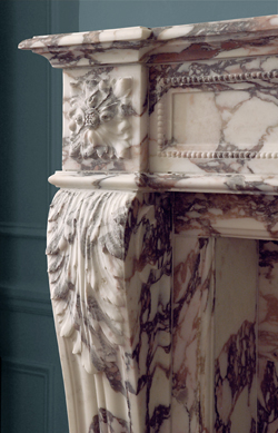 Calacatta details on fireplace mantel