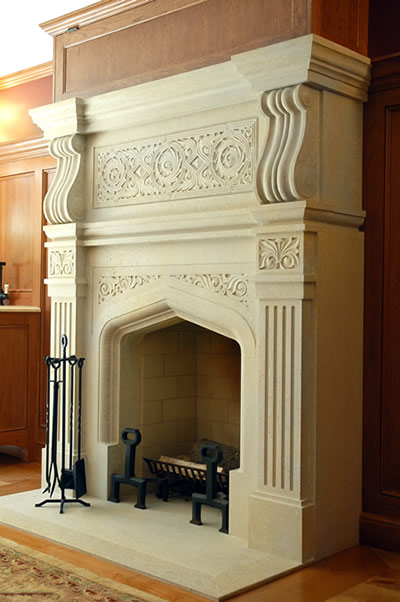 limestone fireplace mantel arts and crafts style