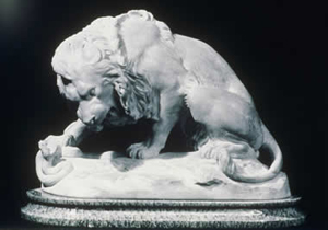 Giallo di Sienna lion sculpture