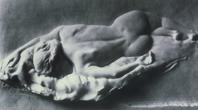 marble relief of figure reclined