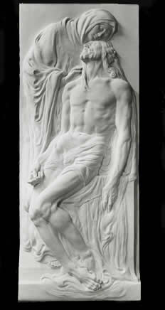 pieta frieze sculpted in marble