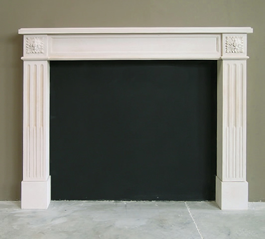 limestone rosette fireplace design
